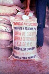 Sack of grain with Spanish writing
