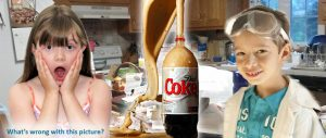 Boy and girl doing home science experiment with exploding bottle of Coke