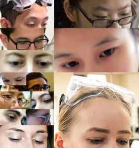 Collage of eyes without eye protection (PPE)