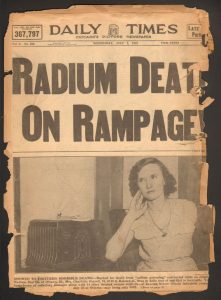Chicago newspaper clipping about radium girls