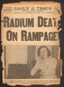 Chicago newspaper clipping about radium girls