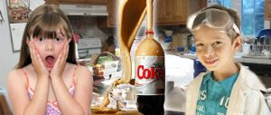 Boy and Girl Doing Home Science Experiment with Diet Coke and Mentos